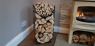Unique Metal Firewood Log and Kindling Holder / store / rack / basket - handmade