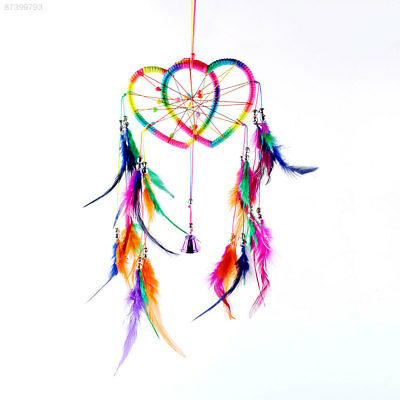 7AD4 Flax Dream Catcher Net feather Hanging Hearts Car Decoration Ornament Gift