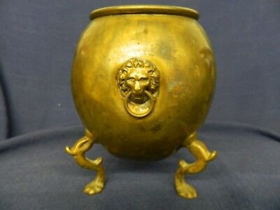 Antique Brass Oil Lamp Base With Lions & Lions Feet