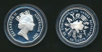 Australia 1989 50c Commonwealth Games Masterpieces in Silver Proof Coin Cat $40