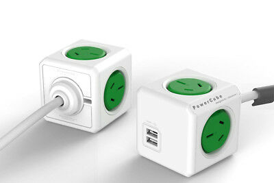 PowerCube by Allocacoc1.5m Extended USB Powerboard 4 Power+2 USB Port 2.1A GREEN