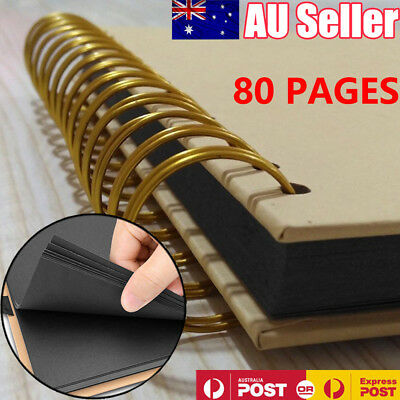 80 Pages DIY Photo Album Scrapbook Vintage Kraft Paper Photo Album Scrapbook AU