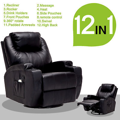 Massage Recliner Sofa Leather Vibrating Heated Chair Lounge with RC Black #2