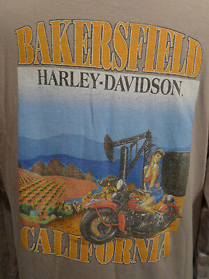 Vintage Harley Davidson T Shirt Bakersfield Hot Woman In Farmlands L USA MADE