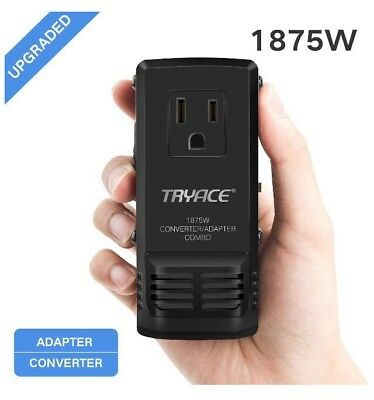 TryAce 1875W Universal Travel Adapter and Converter Combo 240V to 110V Voltage