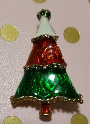 Enameled Christmas Tree Pin Brooch