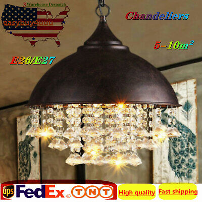 Rustic Industrial Crystal Pendant Light Loft Vintage Style Chandelier lamps USA!