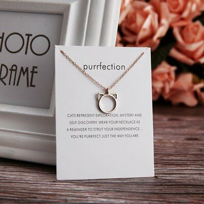 Simple Purrfection Cat Ears Animal Pendant Necklace Womens Jewellery Gifts New