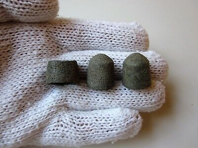 Lot of 3 ancient Roman bronze thimbles 3-4 A.D.