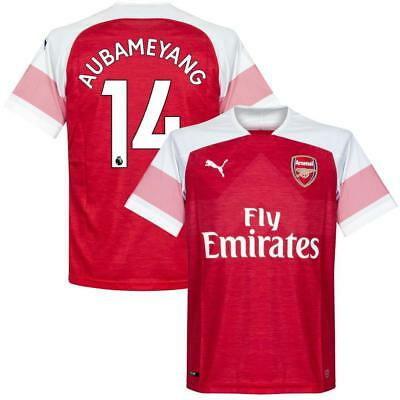 Arsenal Home Aubameyang 14 Shirt 2018 2019 (Official Premier League Printing)