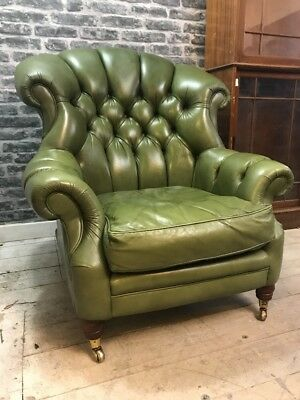 Antique Style Green Leather Chesterfield Wingback Armchchair
