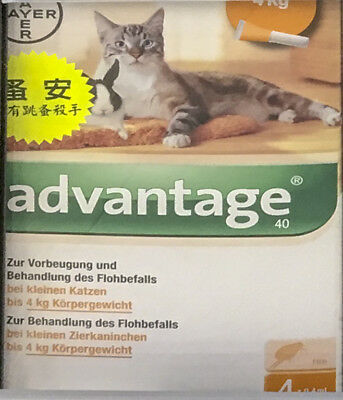 4 x 0.4mL Advantage FOR KITTENS AND SMALL CATS UP TO 4KG