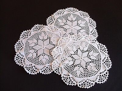 VINTAGE 3 MATCHING HAND CROCHET WHITE  DOILIES 24cms