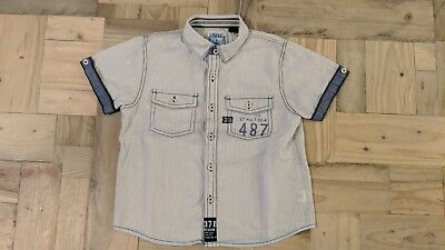 Next Boys Short Sleeve Shirt White with Fine Blue Pinstripe Age 3-4 VGC