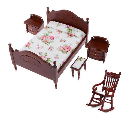 1/12 Dollhouse Bedroom Furniture Bed & Bedside Cabinet & Rocking Chair Set