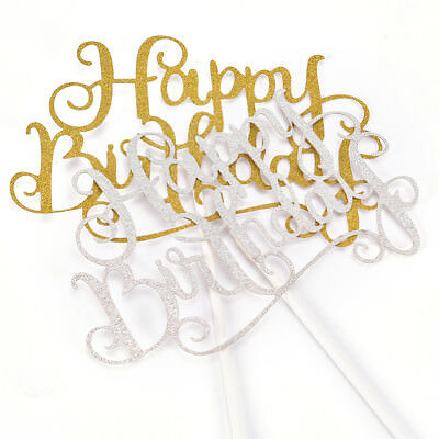 Party Cake Topper Shiny Happy Birthday Letter Anniversary Supplies Decoration LD