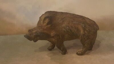 "Superb ~ French Solid Bronze Statue ""Wild Boar"" Pig No Reserve Auction!"