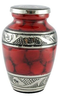 Mini Keepsake, Small Cremation Urn for Ashes, Funeral Memorial Red Ash Container