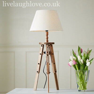 Wooden Tripod Table Lamp With Fabric Shade