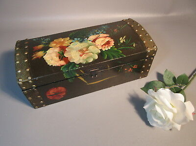 Antique Chinese Lacquered Wood Box w/Hand Painted Flowers And Brass Studs c1920