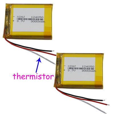 3.7V 3000 mAh Polymer Li battery Lipo 3 wire thermistor For GPS tablet PC 124050