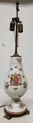 Antique Samson or Chinese Export Armorial Porcelain Vase Lamp Floral