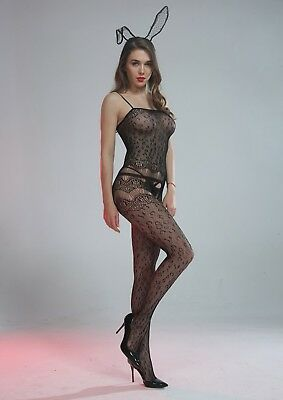 Cindylove The Olivia Body Stocking with Large Open Gusset Animal Print Fishnet