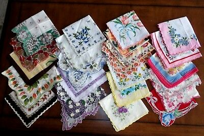 LOT of 20 Vintage Ladies many Scalloped Handkerchiefs Hankies All Floral Bright