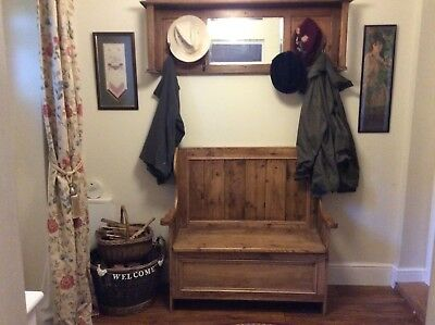 Reclaimed antique pine rustic pew bench seat
