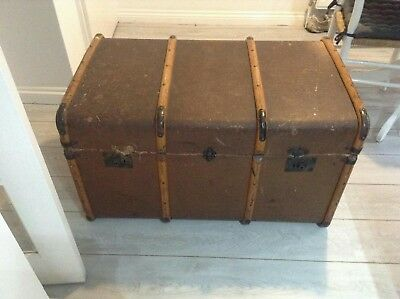 Large Antique Old Fashioned Cabin Trunk