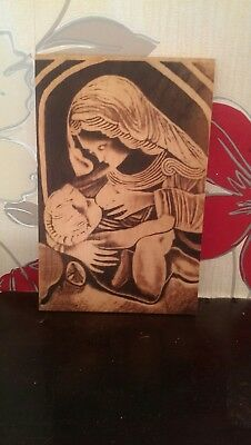Wooden Plaque Of Mary And Jesus