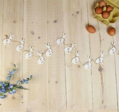 White Wood Happy Easter Bunny Garland 150 x 8cm Celebration, Display and Parties