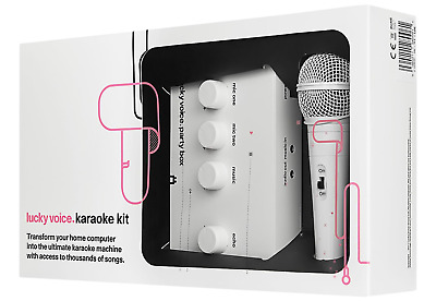 Lucky Voice Karaoke Kit Party Box Machine System Family Friends Music Song White