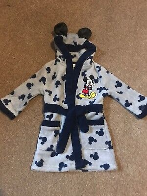 Boys Miniclub Mickey Mouse Dressing Gown With Hood Age 9-12 Months