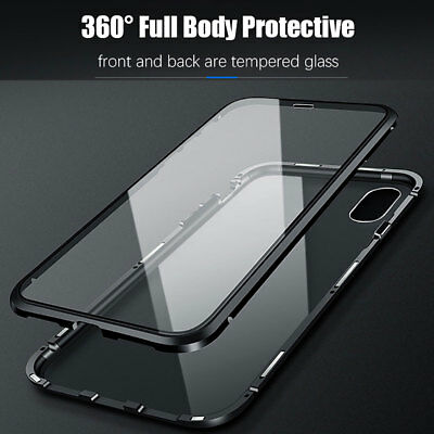 360 Magnetic Adsorption Case for iPhone XS Max XR/X 8 Full Tempered Glass Cover