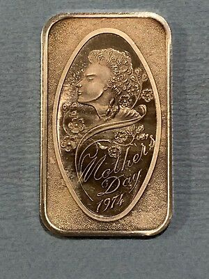 1oz Mothers Day 1974 .999 PURE SILVER BAR ~ NEW & SEALED IN VINYL !