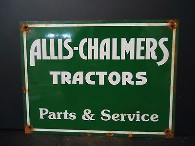 Old Vintage Allis-Chalmers Tractors Parts-Service Porcelain Sign! Used