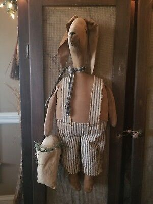 Primitive Easter Bunny Rabbit With Bag With Egg