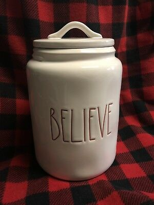 Rae Dunn By Magenta Red LL BELIEVE Christmas Canister/Cookie Jar Rare HTF New