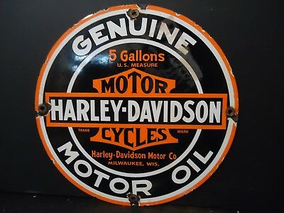 Old 1950's Motorcycle Motor Oil Porcelain  Advertising Sign