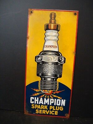 "18"" X 8"" Large Old Champion Spark Plug Service Porcelain Advertising Sign"