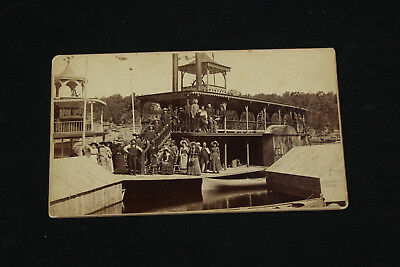 Orig. 1880s Cabinet Card Photo New Dell Queen Steamboat Ferry Bennett Studios WI
