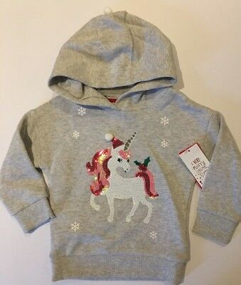 Age 2-3, 3-4, 4-5 Girls Grey Christmas Hoody with Sequin Unicorn on the Front