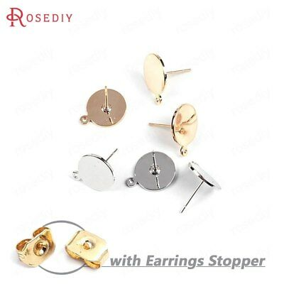 10PCS 10MM 12MM Quality Gold Color Round Flat Disk Stud Earring Jewelry Findings