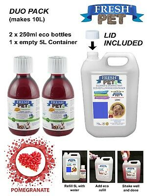 Pet Disinfectant Duo Stain & Odour Removal 2 x 250ml eco POMEGRANATE & empty 5L