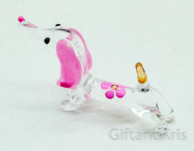 Figurine Miniature Animal Hand Blown Glass Pink Flower Dachshund Dog - GPDG028