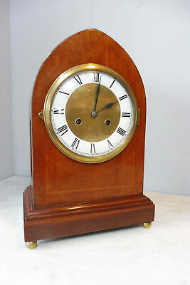 Antique Bracket Clock Old Table Clock in Mahogany Wood Vintage Shelf Mantel