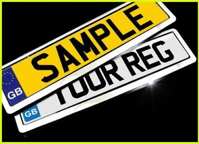 2x GLOSS CHROME Number Plate Surrounds Holders Frame for Private Reg Plates Cars