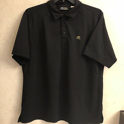 McDonald's Employee Uniform Sz L Black Polo Work Shirt Apparel Unisex