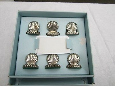 Silver Plated Shell Menu/Place Holders in box with cards.